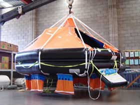 Bi-annual davit testing of davit launch liferaft