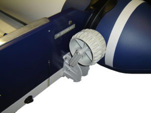 Small boat launching wheels in dwon position