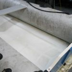 Detailing of inflatable boat before shot with mould on tubes.