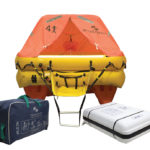 Ocean Safety 4 person liferaft with deck mount container and soft pack valise