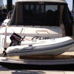 AB Lammina 8AL inflatable RIB on stern of Riviera