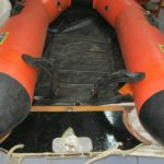 Old Zodiac inflatable boat before repairs