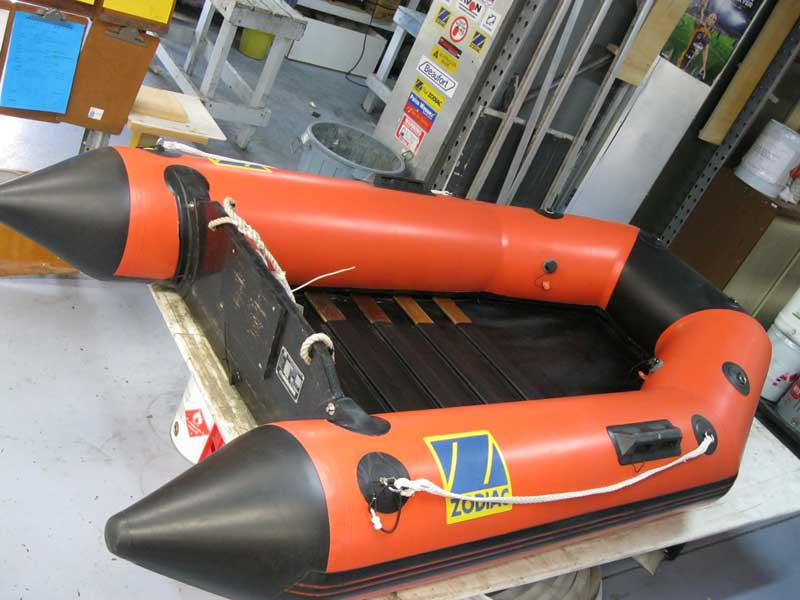 Old Zodiac inflatable boat after repairs