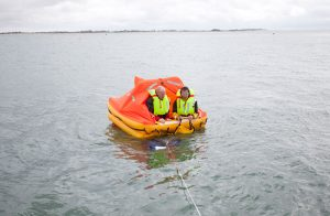 Ocean ISO liferaft on the water