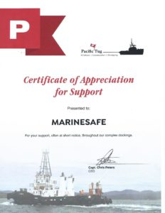 Pacific Tug certiifcate of appreciation
