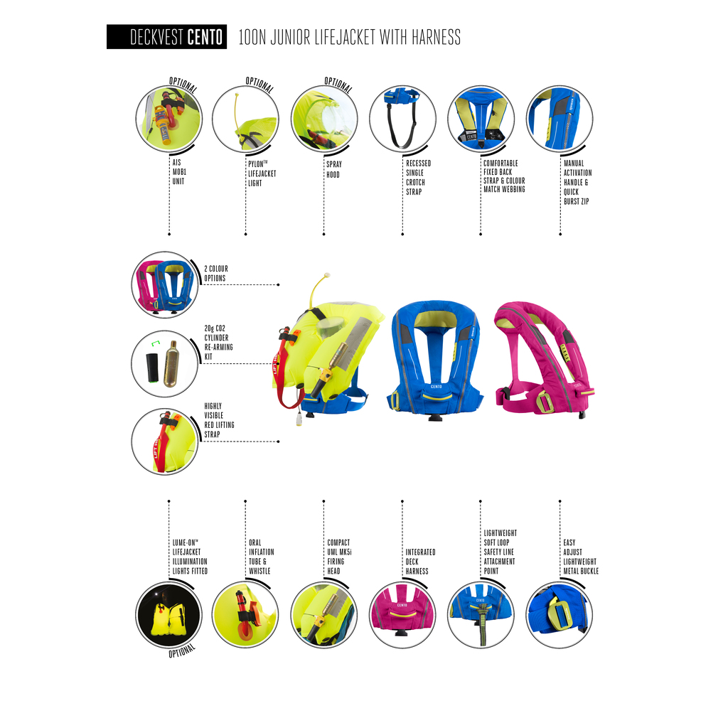 Spinlock Cento childs inflatable lifejacket details